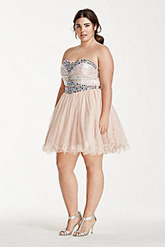 Sequin and Crystal Embellished Short Tulle Dress 55343W