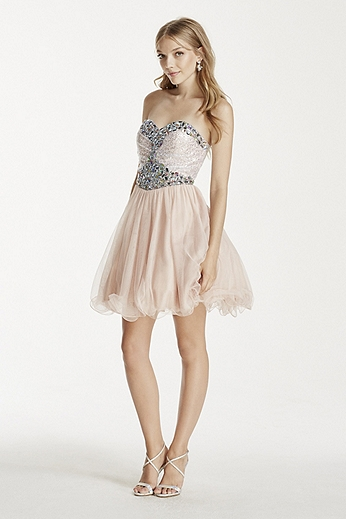 Sequin and Crystal Embellished Short Tulle Dress 55343