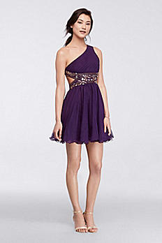 One-Shoulder Short Dress with Metallic Bodice 55442D