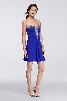 Short A-Line Strapless Prom Dress - Blondie Nites