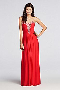 Crystal Beaded Neckline Long Mesh Prom Dress 56006