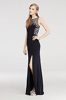 Long Jersey Prom Dress with Illusion Neck and Back 56022