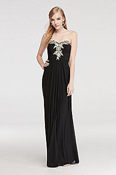 Strapless Prom Dress with Embroidered Neckline 56101