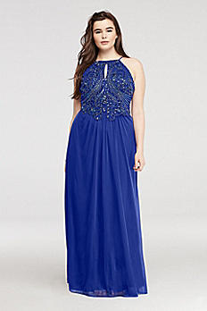 Embellished Keyhole Halter Mesh Prom Dress 56115W