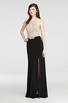 Halter Prom Dress with Beaded Illusion Bodice 56117