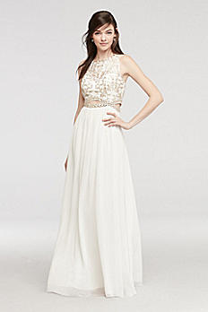 Illusion Tank Prom Dress with Gold Beaded Cutout 56126