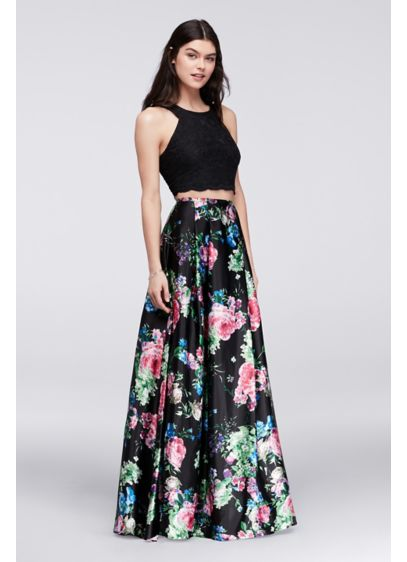 Cutaway Crop Top and Floral Skirt Two-Piece Set | David's Bridal