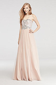 Strapless Prom Dress with Sequin Beaded Bodice 56211