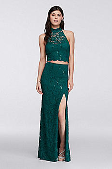 Lace Homecoming Crop Top with Long Skirt D6MPG368