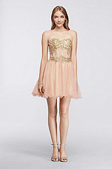 Short Homecoming Dress with Lace-Up Bodice 56561