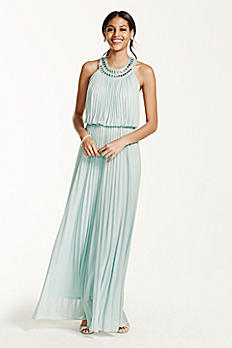 Pleated Crystal Embellished Neckline Blouson Gown 56579D