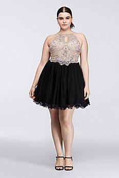 Short Halter Plus Size Dress with Beaded Bodice 56583W