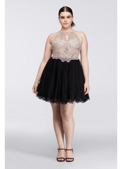 Short Halter Plus Size Dress with Beaded Bodice | David\'s Bridal