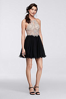 Short Halter Homecoming Dress with Beaded Bodice 56583