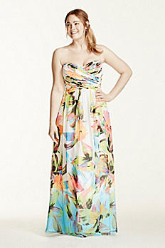 Strapless Printed Dress with Rhinestone Bodice 56606DW