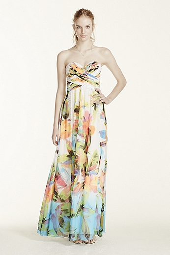 Strapless Printed Dress with Rhinestone Bodice 56606D