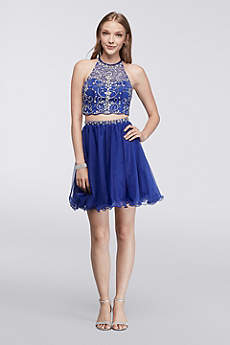 Short Ballgown Halter Prom Dress - Blondie Nites