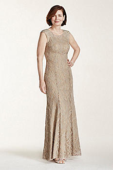 Long Metallic Lace Dress with Beaded Back 56639D