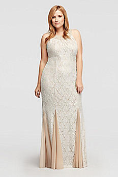 Allover Glitter Long Lace Dress with Beading 56646W