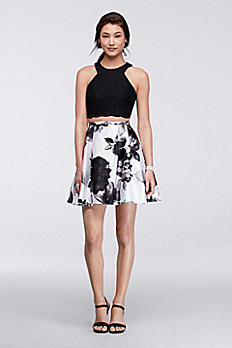 Scalloped Trim Crop Top with Floral Skirt 56674