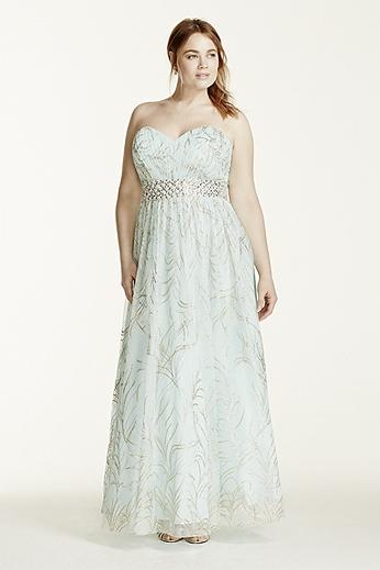 Strapless Beaded Waist Glitter Tulle Ball Gown 56733DW
