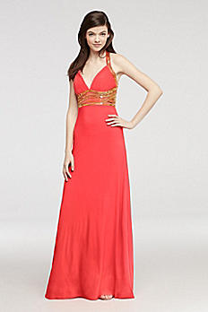 Beaded Halter Jersey Prom Dress with Open Back 56829D