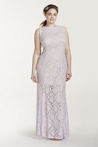 All Over Lace Tank Dress with Illusion Skirt 56840DW