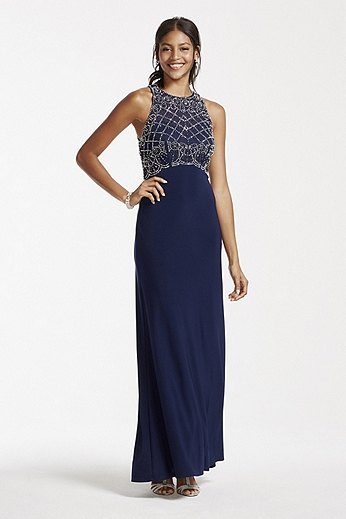 Long Jersey Dress with Beaded Illusion Pop Over 56872D