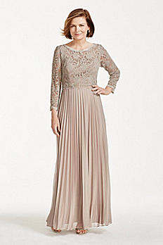 Long Lace and Chiffon Dress with Beaded Waist 56893D