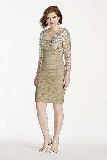 Short Taffeta Dress with 3/4 Sleeve Sequin Bolero 56969D