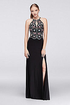 Jersey Halter Gown with Beaded Bodice 57008