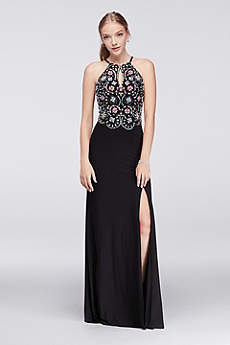 Long Sheath Halter Prom Dress - Blondie Nites