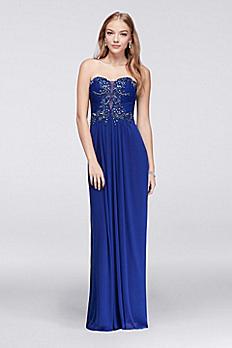 Strapless Chiffon Long Dress with Beaded Bodice 57019
