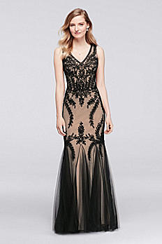 Sleeveless Long Soutache Dress with Skirt Godets 57058