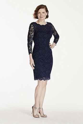 3/4 Sleeve Short Lace Dress 57108D