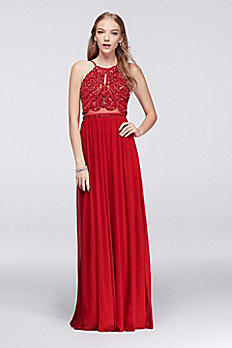 Beaded Mesh Halter Gown with Illusion Waist 57120