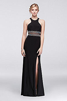 Beaded Cutaway Jersey Dress with Contrast Lining 57176