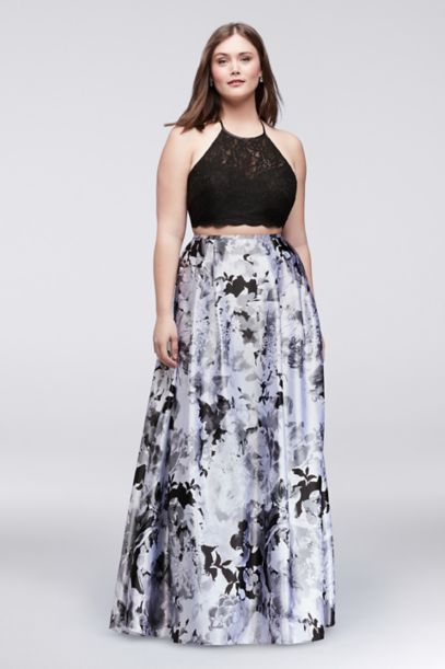 lace top and printed charmeuse skirt plus size set | david's bridal