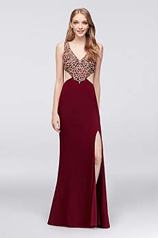 Jersey Halter Gown with Cutout Sides