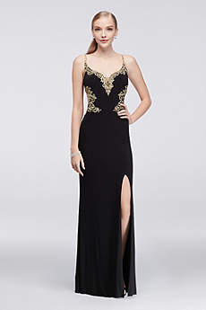 Long Sheath Spaghetti Strap Prom Dress - Cachet