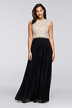 Long Pleated Chiffon Dress with Beaded Bodice 57421D