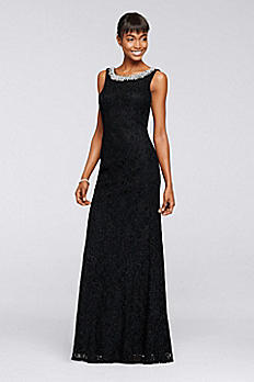 Long Glitter Lace Dress with Beaded Neckline 57481D