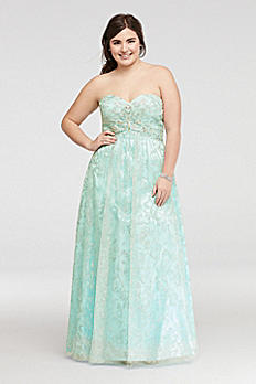 Strapless Beaded Glitter Tulle Prom Dress 57594DW