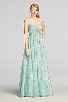 Strapless Glitter Tulle Prom Dress with Beading 57594D