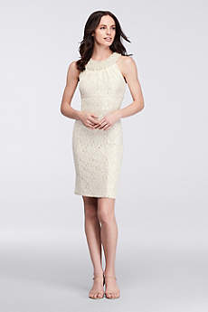 Short Sheath Halter Cocktail and Party Dress - Cachet