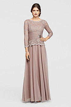 Glitter Lace and Mesh Long Sleeve Dress 57727D