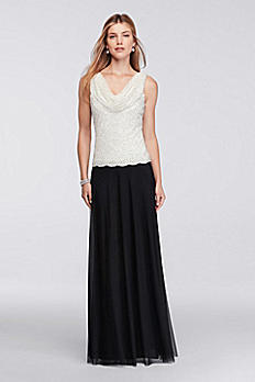 Long Gown with Beaded Cowl Neckline 57852D