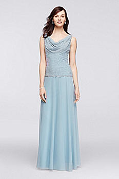 Floor Length Gown with Caviar Beaded Cowl Neckline 57852D