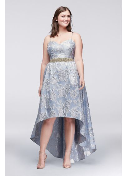 High-Low Brocade Plus Size Ball Gown with Beading | David\'s Bridal