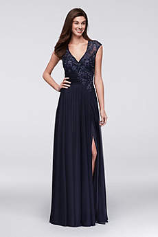 Cap Sleeve A-Line Gown with Crystal Lace